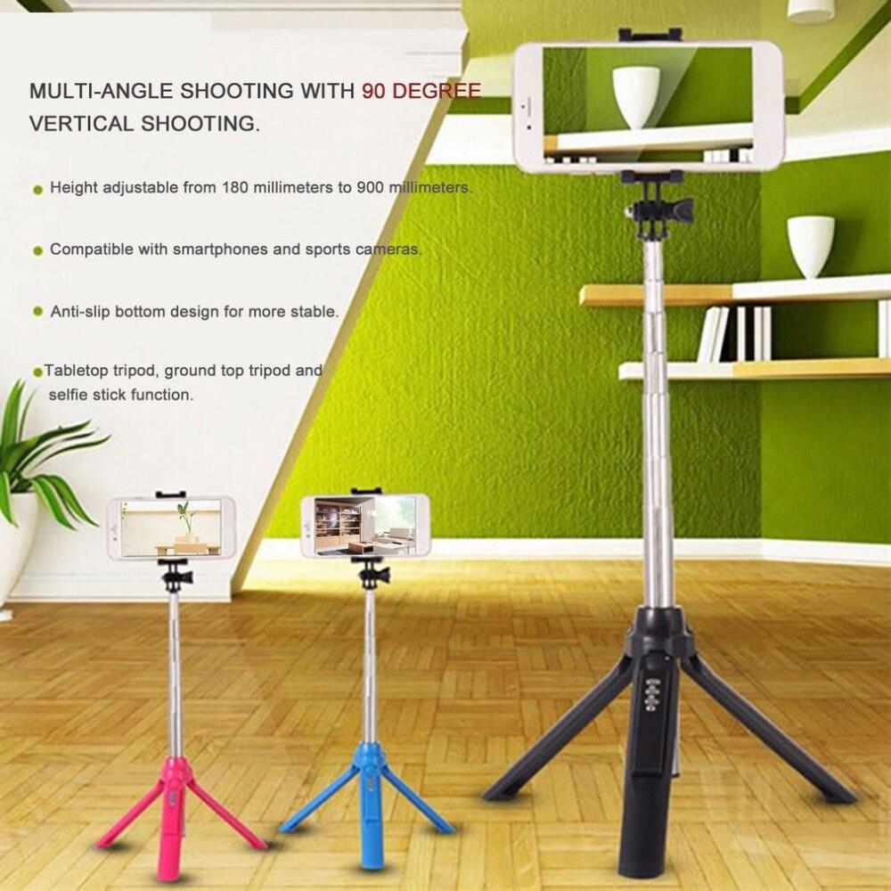Mini trípode de mano 3 en 1 monopié de autorretrato teléfono Selfie Stick w obturador remoto Bluetooth para cámara de teléfono inteligente Universal