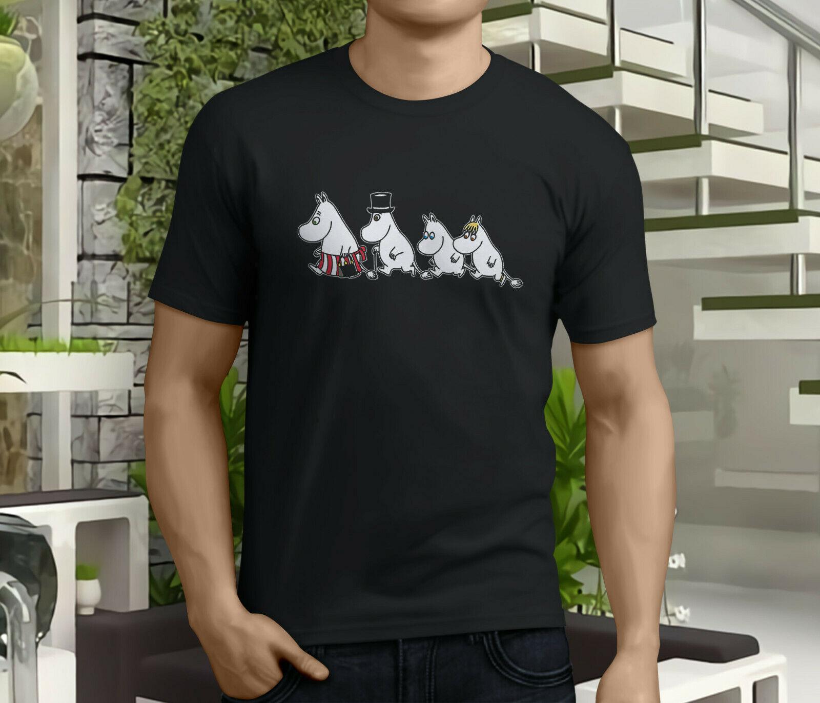Novo popular moomin família mumin snufkin snorkmaid masculino preto t camisa tamanho s 3xl