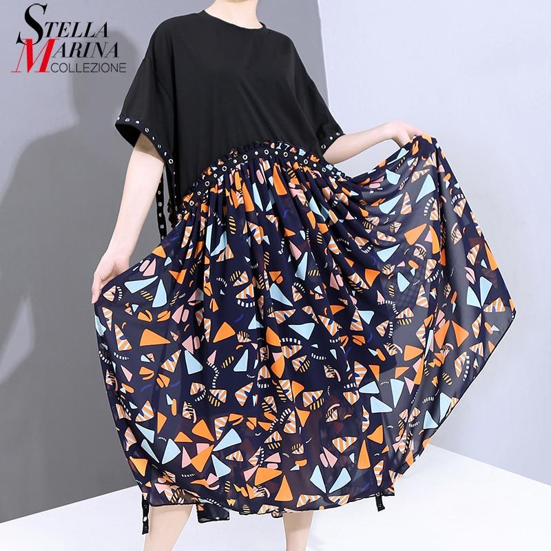 Nuevo vestido negro de talla grande a la moda de verano 2020 para mujer, con cinta, estampado geométrico, vestido recto informal para mujer 6141