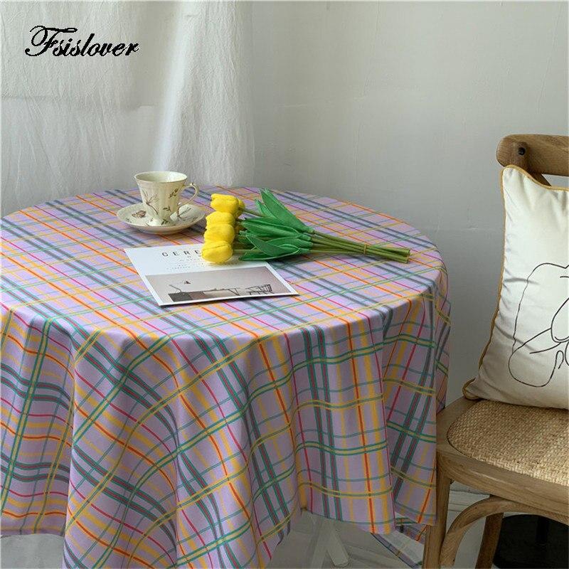 Fsislover deco diy xadrez toalha de mesa de algodão toalha de mesa redonda toalhas de mesa de jantar capa obrus tafelkleed mantel mesa nappe