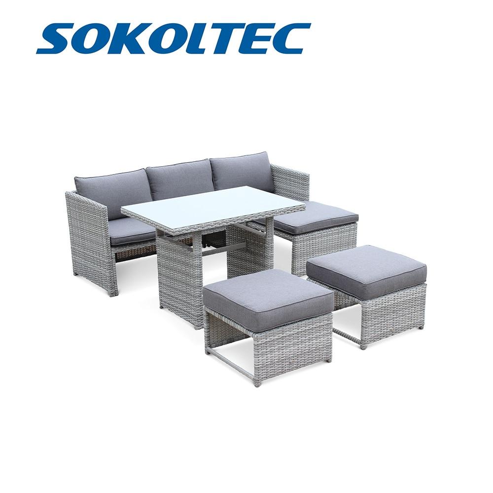 SOKOLTEC диван высокого класса наружные секционные столы Тиковая рама патио Водонепроницаемая садовая мебель ротанговая плетеная Таблица наборы