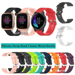 20mm Silicone Watch Band Classic Metal buckle Strap for Garmin Venu Sq for Vivoactive 3 Forerunner 245 645M Replacement strap