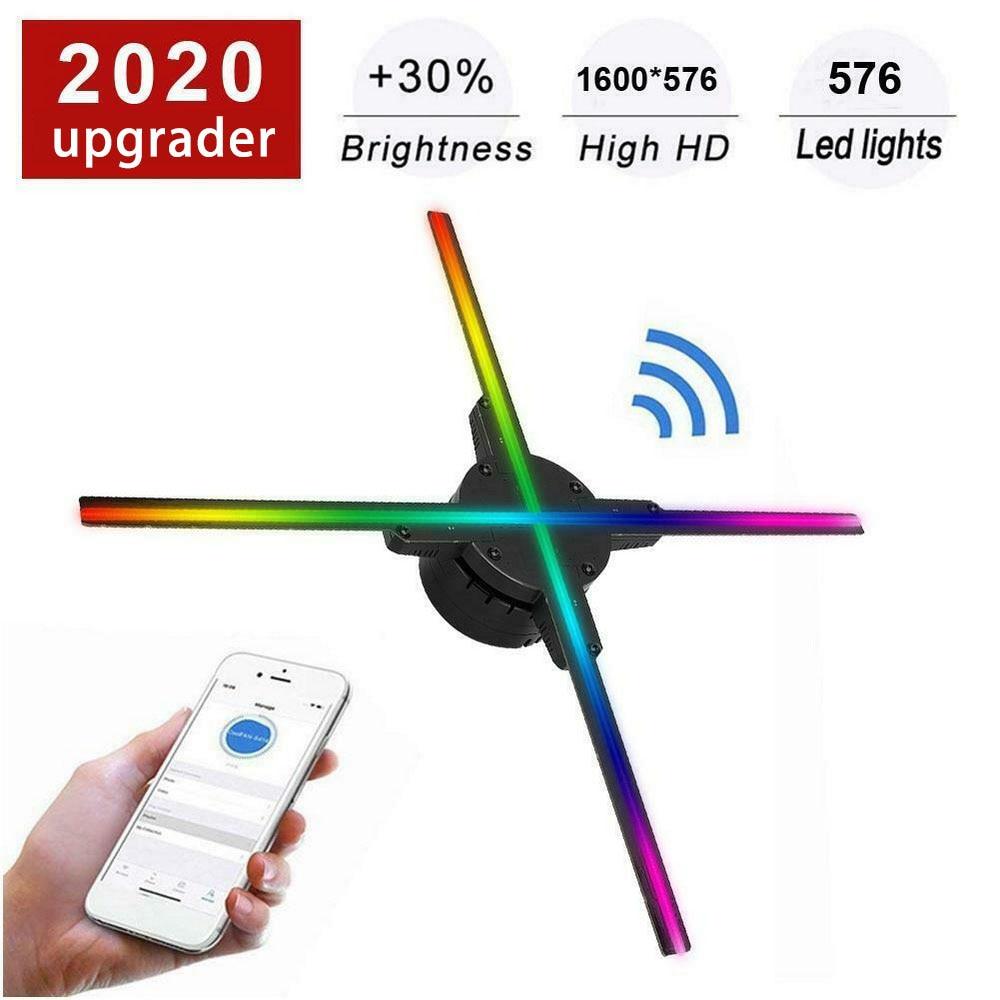 56CM Wifi /PC 3d Fan Hologram Projector Advertising Display Hologram Fan Lamp 576LED Display Advertising Logo Light Decoration недорого