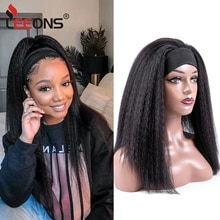 Leeons 16inch Headband Wigs Brown Yaki Straight Wigs Synthetic Wigs Afro Style Wigs Brown For Black Women Party 4color Available