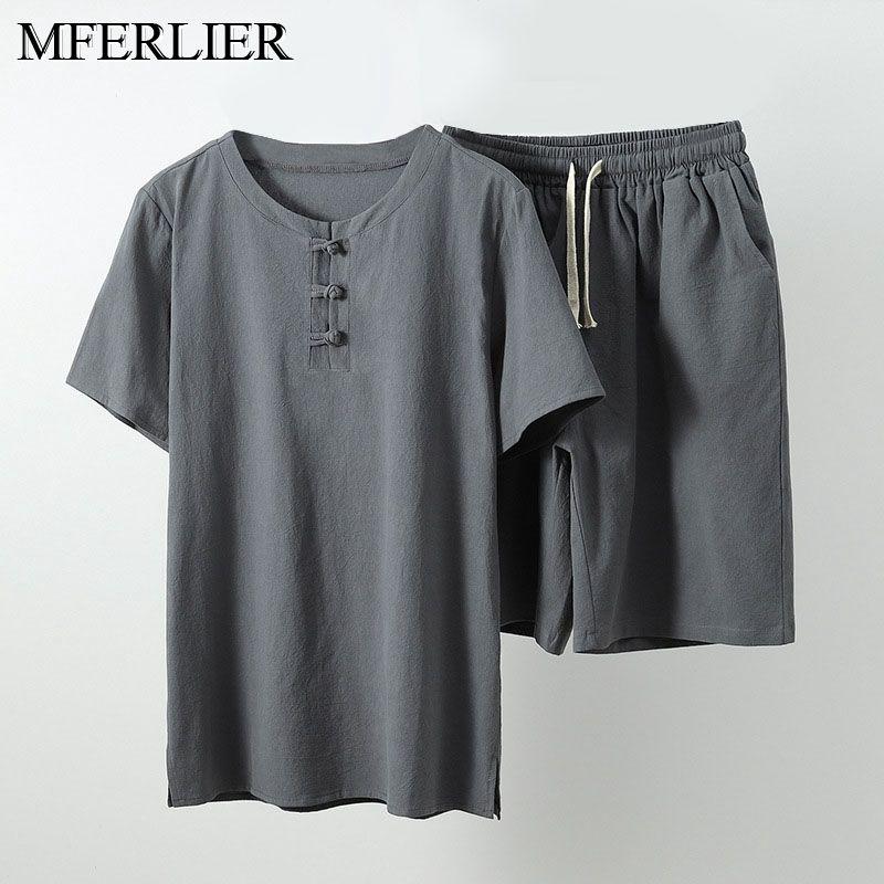 Summer plus size 7XL 8XL 9XL linenT-shirt for Men Short Sleeve tees and shorts china style oversize vintage tshirt khaki 68 70