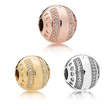 Perles de pince à billes rondes en cristal de 3 couleurs pour Bracelets à breloques Logo Signature perles en argent Sterling 925 pour la fabrication de bijoux