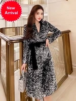 high end atmospheric trench coat 2020 new mid length spring and autumn clothing slim fit elegant heavy work sequin coat for