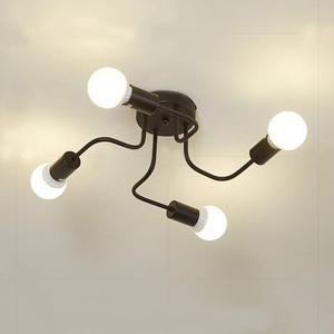 Vintage E27 Ceiling Lights 4 Heads Iron Black White Ceiling Lamp Retro Kitchen Living Room Decor Light 20w White/Warm Light