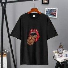 Camisetas de mujer LettBao labios rojo estampado de leopardo Casual Harajuku Hot Drilling Tops estampados camiseta de verano de manga corta Camiseta de diamante
