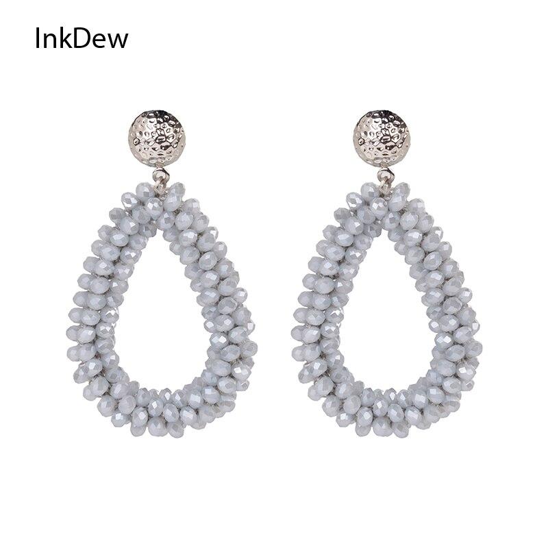 INKDEW Water Drop Earrings for Women Faceted Beads Handmade Crystal Earring Big Earrings Long Earrings vintage Wholesale boho