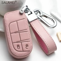 new leather car key cover case key chain protector for jeep grand cherokee chrysler 300c renegade fiat freemont 2018 accessories