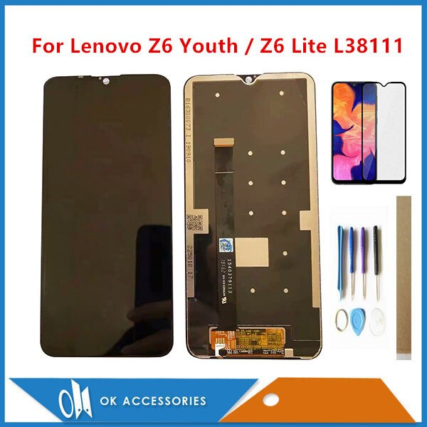 "Pantalla LCD de 6,3 ""para Lenovo Z6 Youth / Z6 Lite L38111 con digitalizador de pantalla táctil de cristal con película de vidrio templado, herramientas y cinta"