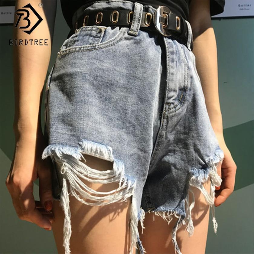 Plus Size Women Loose Cotton Denim Hole Tassel Shorts Spring Summer Casual High Waist Bottoms Wide Leg Shorts New 2020 B03508O