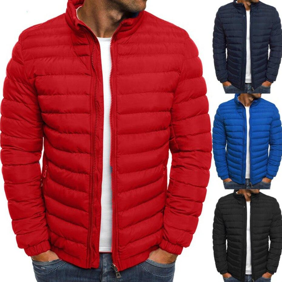 ZOGAA Mens Parka Jacket Winter Coat Men Cotton Puffer Solid Plus Size Overcoat Zipper Streetwear Casual