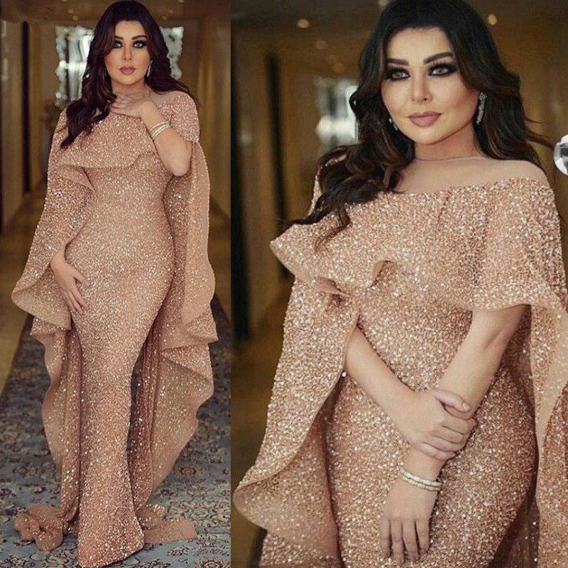 Sparkly Glitter Sequin Evening Dress Long 2020 Mermaid Rose Gold Dubai Saudi Arabic Formal Prom Party Gown Robe De Soiree