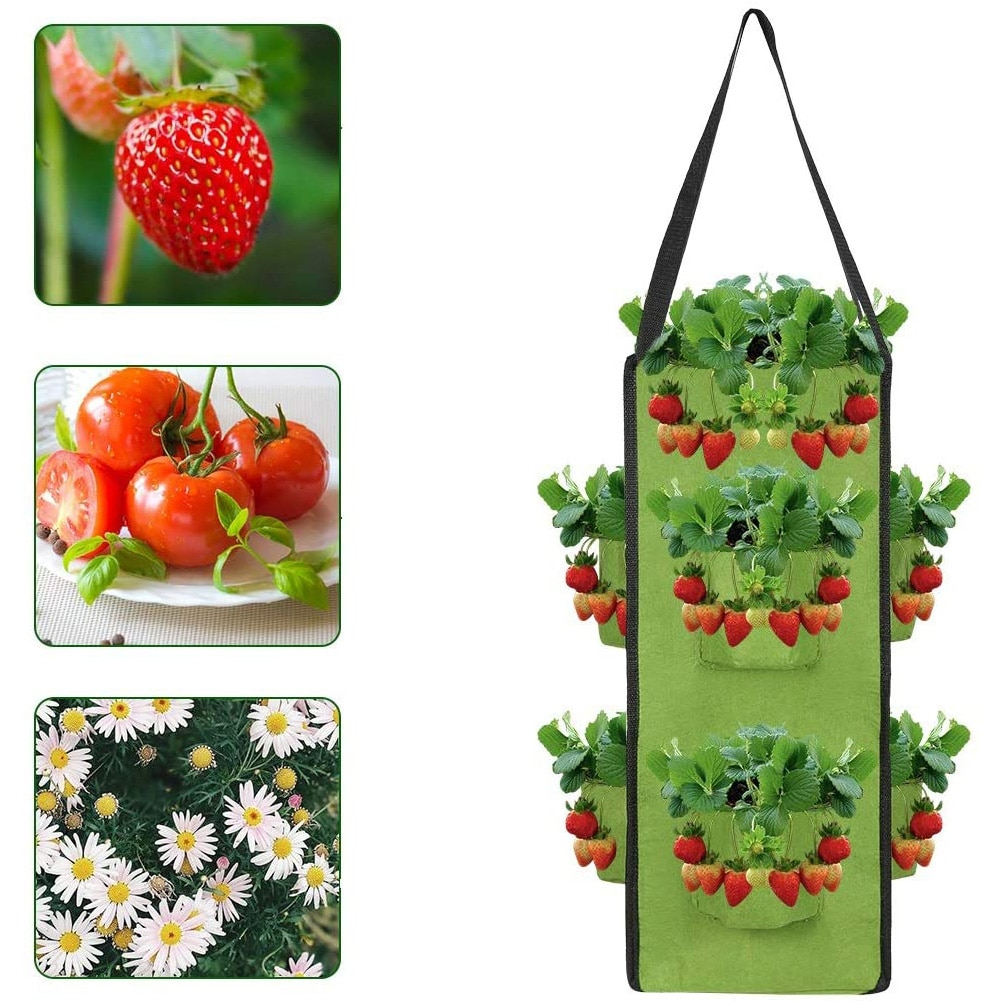 Hanging Growing Bags Felt Planting Bag Strawberry Planter with 8 Pockets Cultivation Container for Fruit Flowers Vegetable