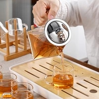 thickened glass high temperature resistant flower tea pot filter tea maker kung fu tea set tea tray set coffee living room home