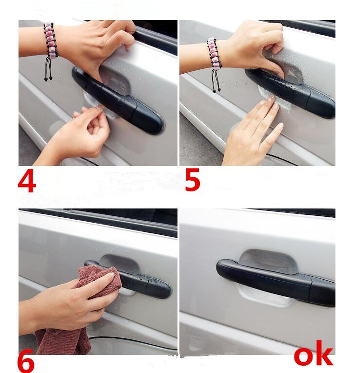 5pcs/lot Car door Handle Stickers Protection for Peugeot 307 206 308 407 207 3008 2008 208 508 301 306 408 106 107 607 405 806