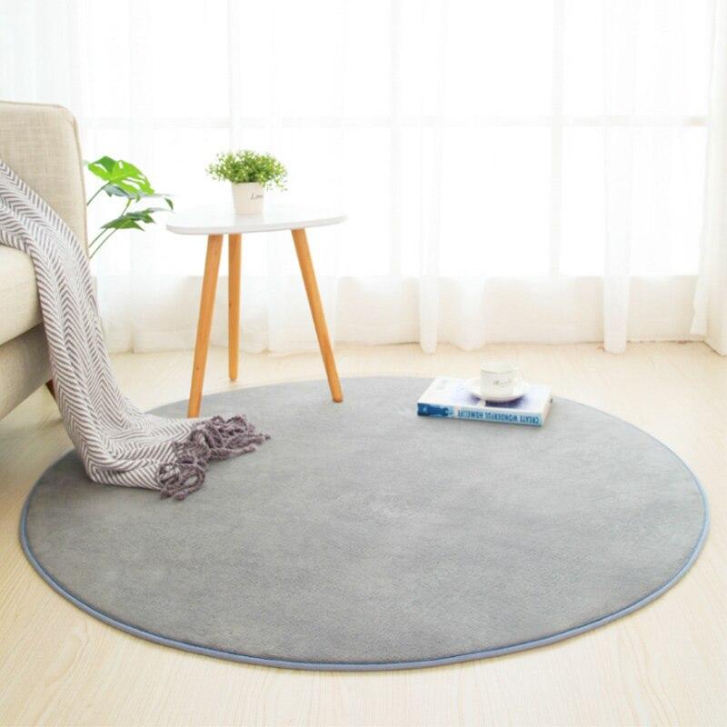 Толстый коралловый флисовый круглый ковер для гостиной, спальни, журнальный столик, Впитывающий Коврик для балкона, серый, бежевый