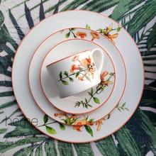 The American Dinnerware Set Azalea Bone China Steak Plate Soup Plate Coffee Cup Ceramics Food Tray 10inch Full Set Tableware 1pc