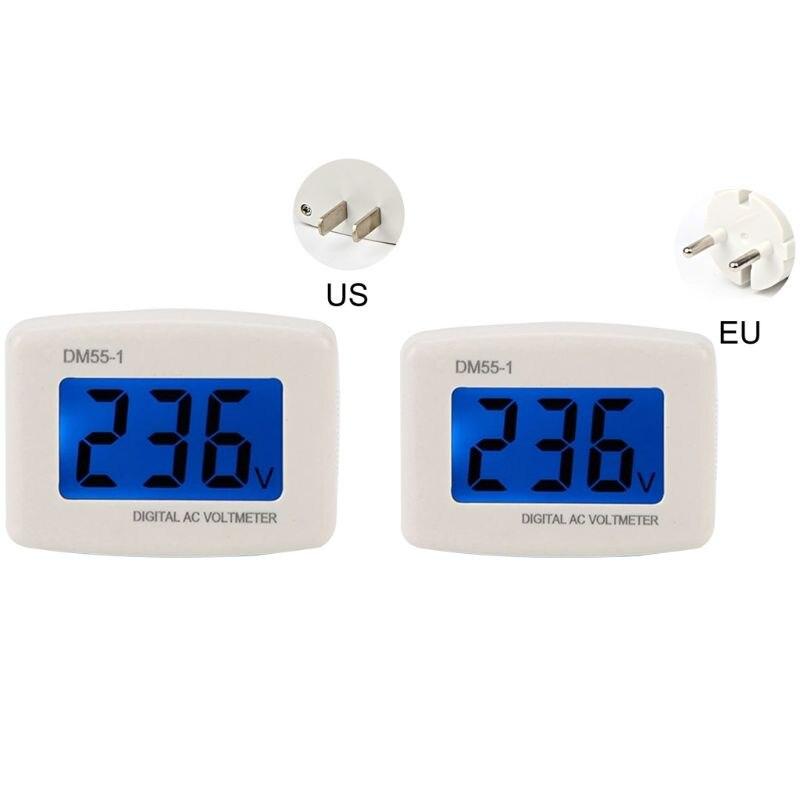 DM55-1 цифровой ЖК-дисплей Напряжение Тесты монитор AC 80-300V Plug в вольтметр Тесты er