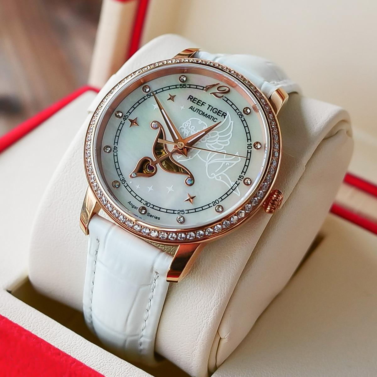 Reef Tiger/RT Brand Luxury Fashion Watches for Women Shell Watch Waterproof 30M Lady Dress Watches Relogio Feminino RGA1550 enlarge