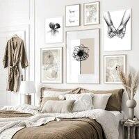 Moderne abstrait baiser Beige fond doux maison toile peinture photos mur Art affiches et impressions pour salon decor a la maison