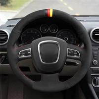 diy anti slip wear resistant steering wheel cover for audi a4 b8 avant a5 8t a6 c6 a8 d3 q5 8r q7 4l s3 car interior decoration