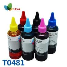 6 couleurs T0481 Kit dencre de recharge de colorant encre en vrac pour imprimante pour Epson stylet Photo R200/R220/R300/R300M/R320/R340/RX500/RX600/RX620