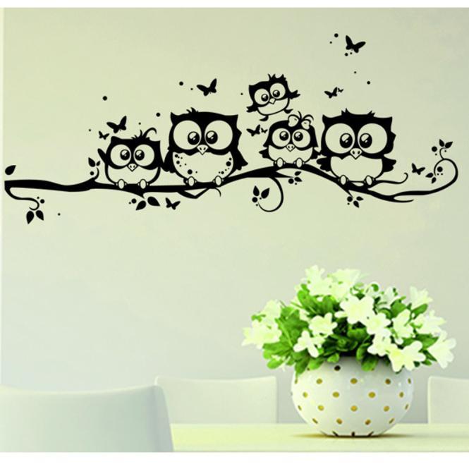 Productos para el hogar, calcomanías Buterfly para niños, vinilo artístico, mariposa y búho De dibujos animados, pegatina para pared, adhesivo para decoración hogareña