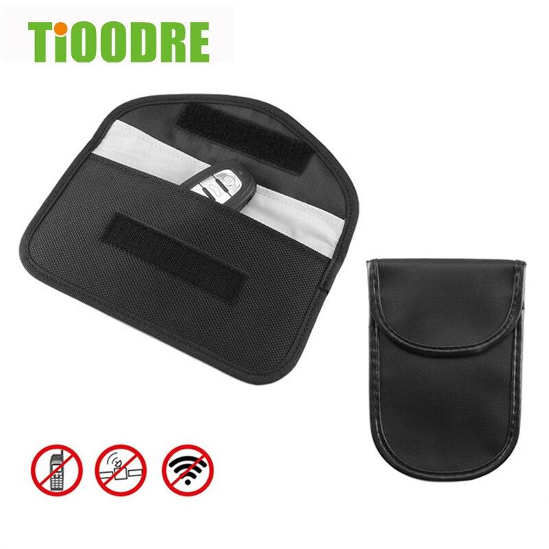 Sinal de bloqueio saco do carro fob sinal bloqueador faraday saco blindagem bolsa carteira caso para carro chave telefone celular proteção