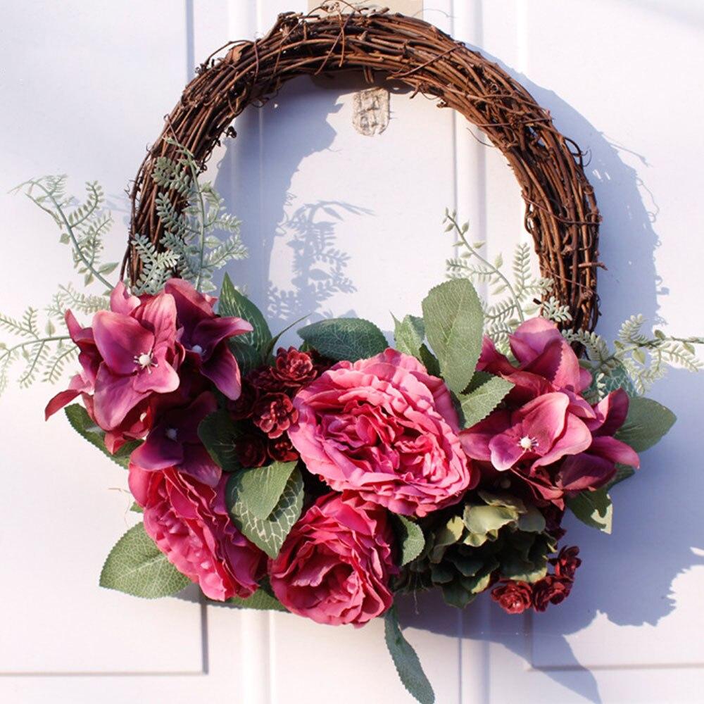 Casa habitación fiesta Artificial guirnalda puerta umbral flor boda colgante decoración de pared para Navidad guirnalda regalo Rosa peonía