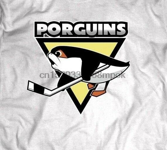 Pingüinos HOCKEY parodia PORGUINS diseño raro frente completo de la camisa