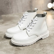 Femmes blanc bottines de luxe en cuir véritable moto bottes femme hiver dames en cuir plate-forme chaussures grande taille 35-44