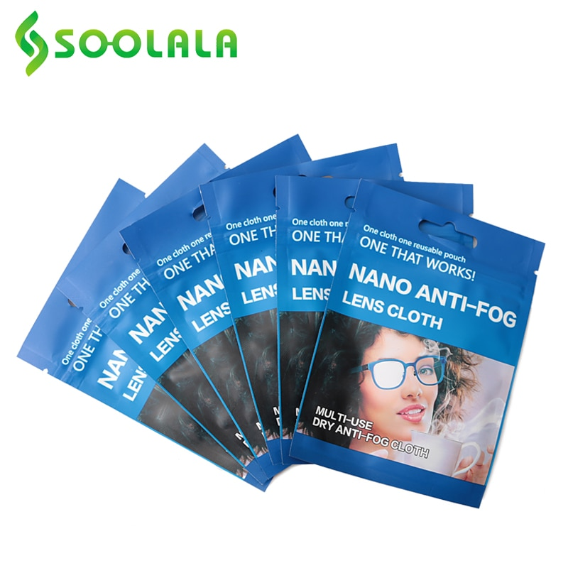 SOOLALA 6pcs 15x14.5cm Eyeglasses Anti-Fog Cloth Microfiber Fabric Glasses Cleaner for Spectacles Le