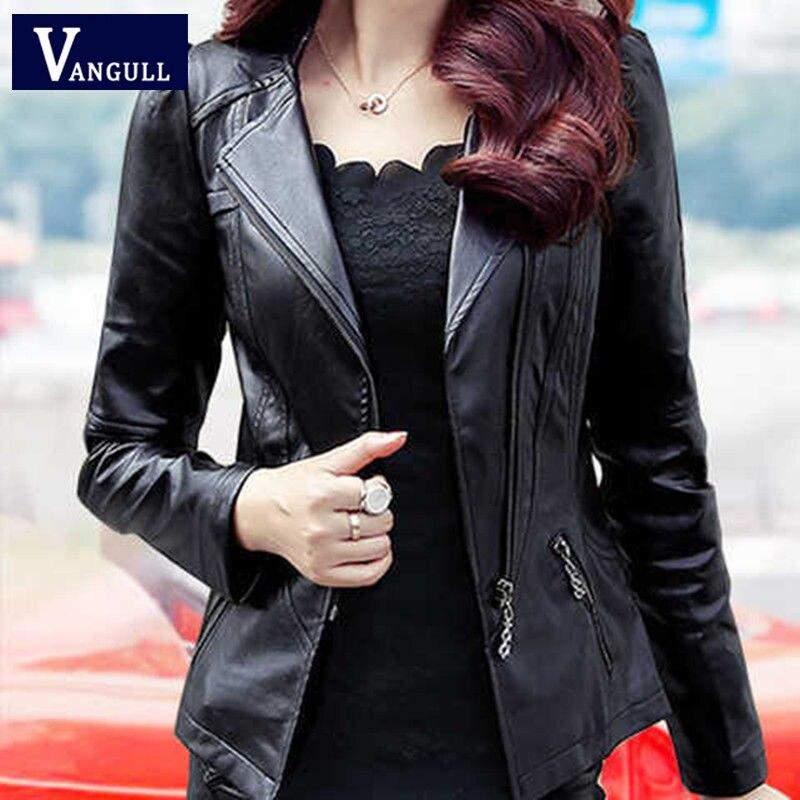 Vangull Women Leather Jacket Long Sleeve Slim Short PU Faux Leather Coat 2019 Autumn Winter New Plus Size Fashion Zipper Coat