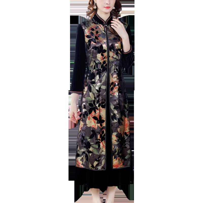 WYWAN منتج جديد شيونغسام ذو ياقة واقفة ومزاج مخملي فستان سيدات أنيق