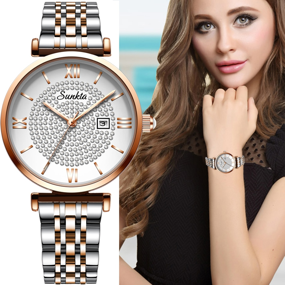 2021 New sunkta women watch luxury steel belt wristband fashion watch women mineral glass mirror casual waterproof quartz watch enlarge