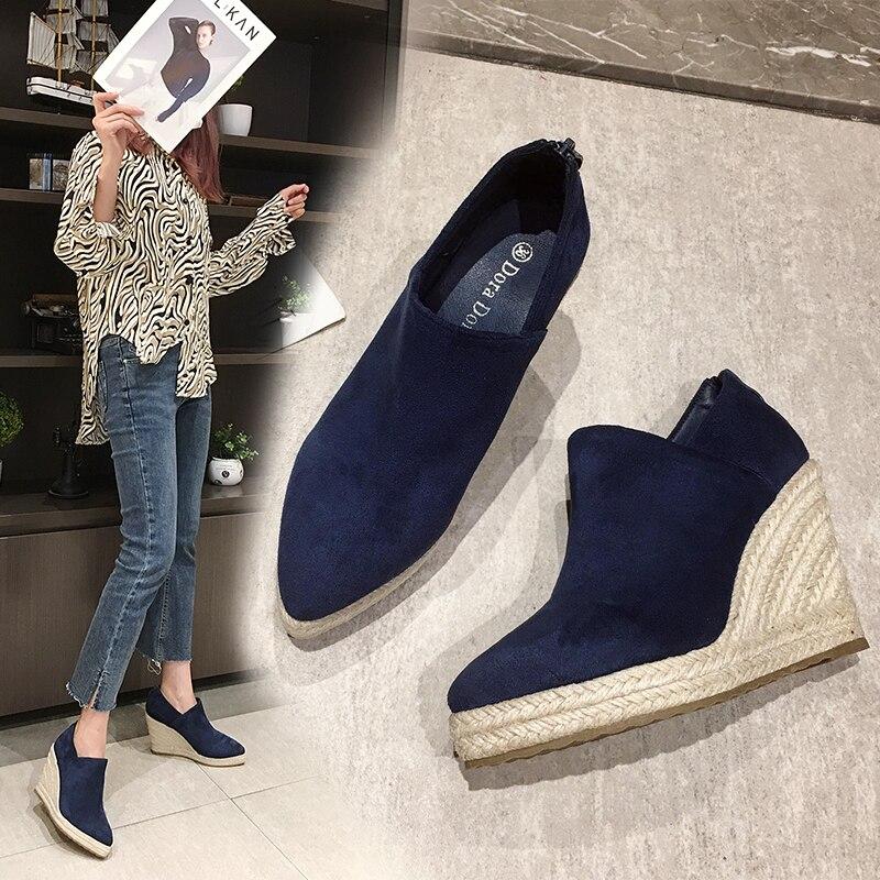 Sapatos de Moda Marca Cunhas Sapatos Femininos Rebanho Plataforma Ankle Boots Apontou Toe Casual Salto Alto Tecelagem Feminina Zapatillas Mujer
