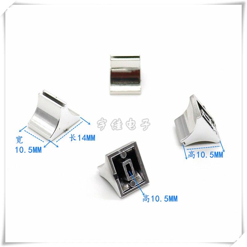 10 peça placa de som volume push key cap mixer fader tampa banhado a prata push rod tampa abertura 4mm dj disc player
