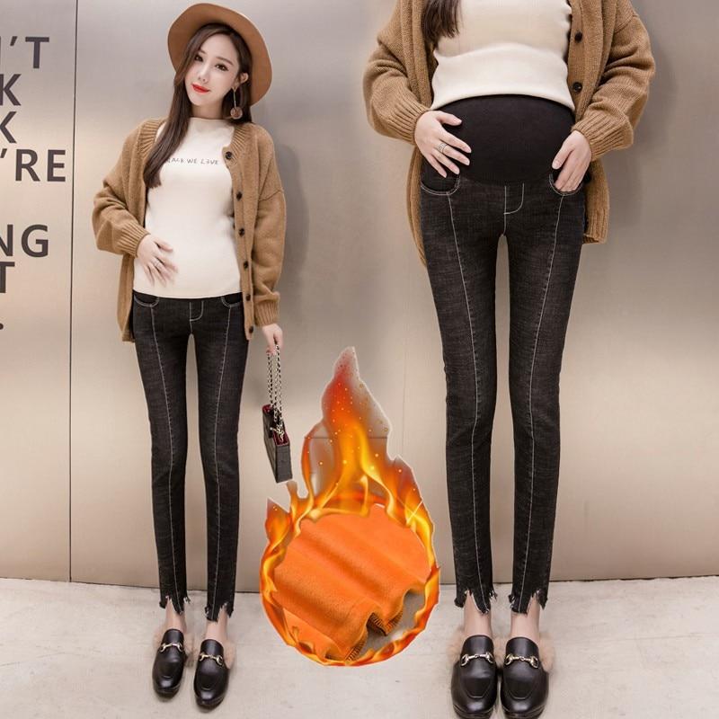 Las mujeres embarazadas pantalones de otoño e invierno triturado leggings otoño y invierno jeans nueve pies de embarazada Mujer Vaqueros