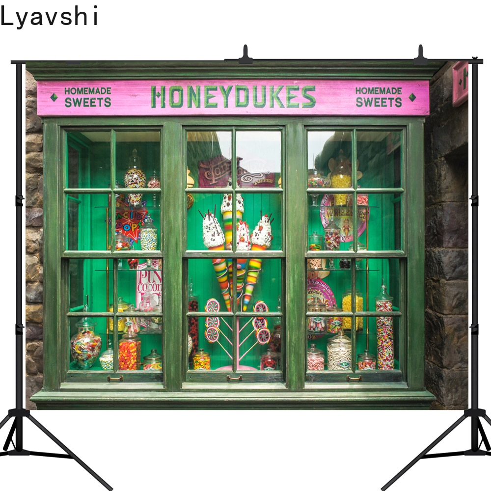 Pano de Fundo para Estúdio de Fotos Lyavshi Honeydukes Candy Fotografia Gelo Doce Shoppe Tema Mágico Festa Decoração Bar