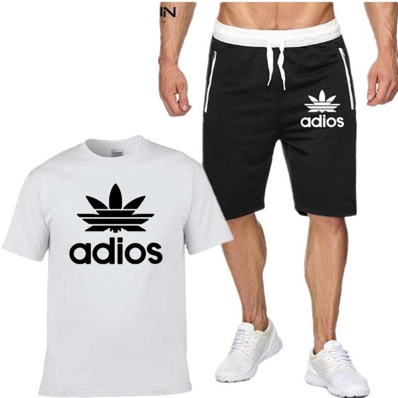 Conjunto de marca de moda ropa de hombre 2020 novedad de verano chándal de 2 piezas Sudadera corta + Pantalones cortos conjuntos playeros camisas informales para Hombre Ropa deportiva