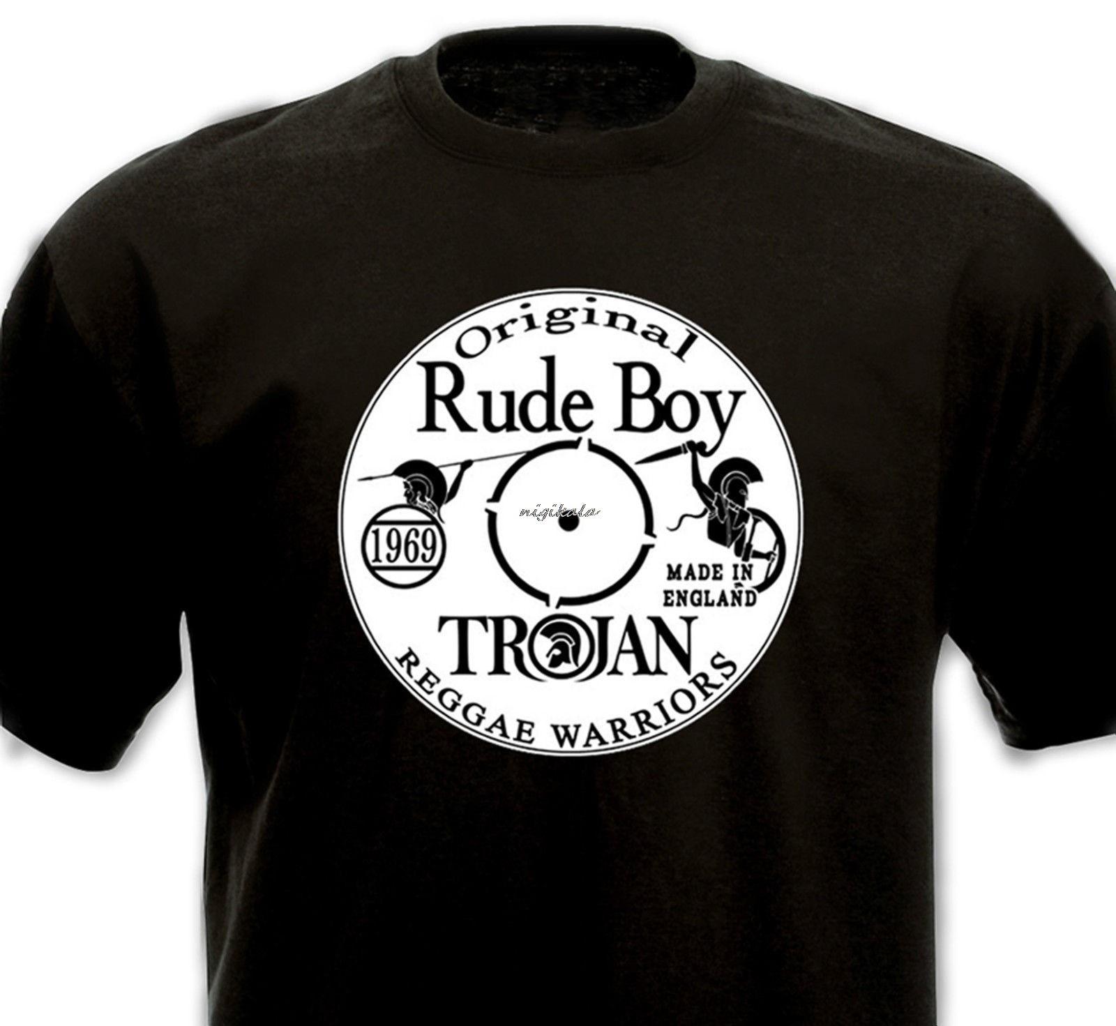 T-SHIRT Original Rude Boy - Ska Reggae Dub Vinyl Trojan Studio 1 Coxsone - 1969 Low Price Round Neck Men Tees shirts