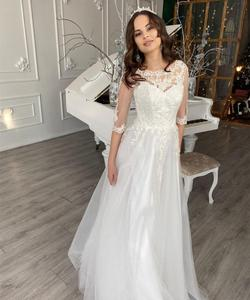 Princess Wedding Dress A-Line 3/4 Sleeve Lace Appliques Bridal Gowns Floor Length For Women Petite Charming Custom Made Size