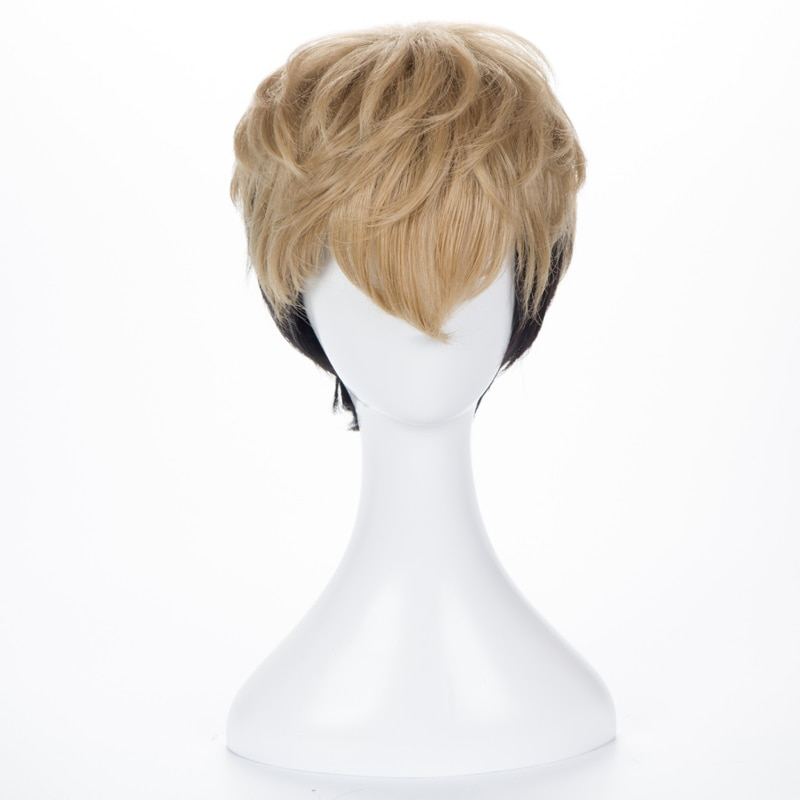 Killing Stalking SangWoo, peluca de disfraz de Cosplay resistente al calor de lino negro Ombre + gorro de peluca