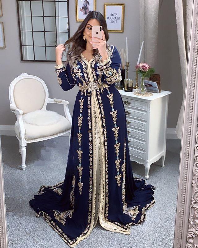 Moroccan Caftan Evening Dresses Embroidery Appliques Muslim Jacket Kafutan Arabic Party Dress