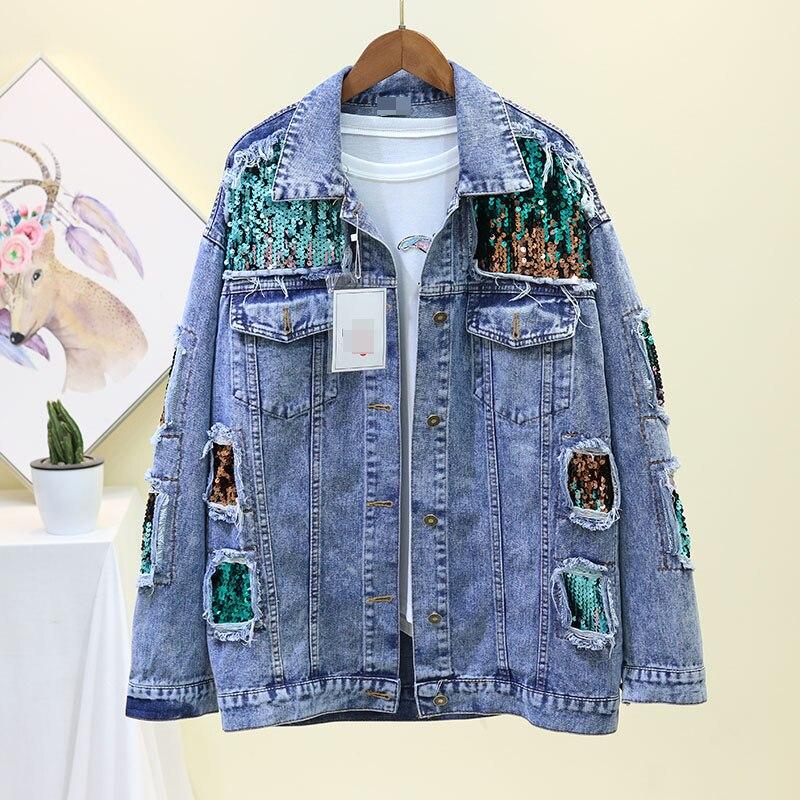 Chaqueta vaquera n. ° 3109 de primavera con retazos y lentejuelas, cortavientos de Hip Hop para mujer, chaqueta vaquera rasgada de talla grande a la moda para mujer