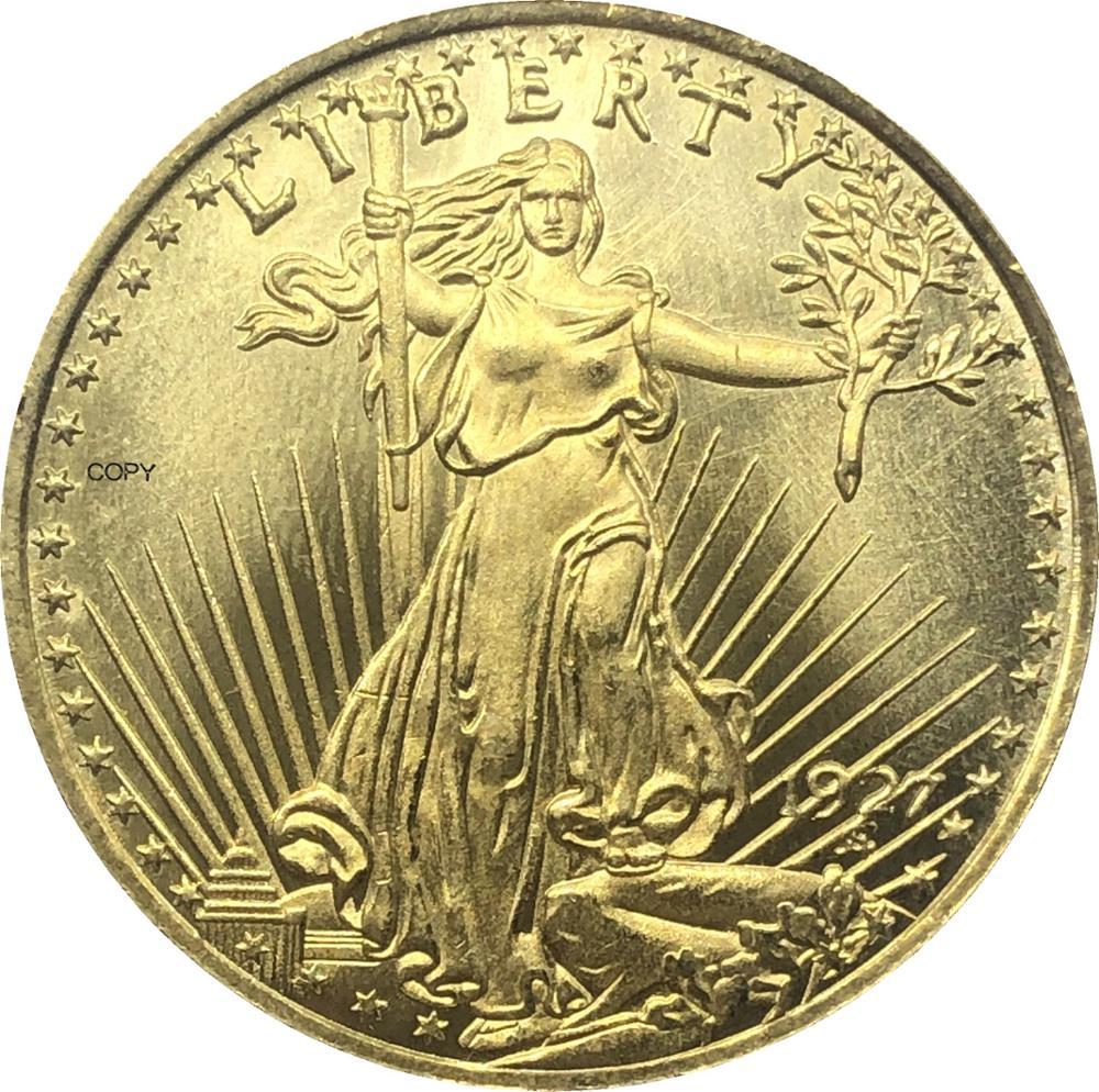 Estados Unidos América 1927 1927 D 1927 S veinte 20 dólares Saint Gaudens Águila Doble con lema En Dios confiamos réplica de moneda dorada