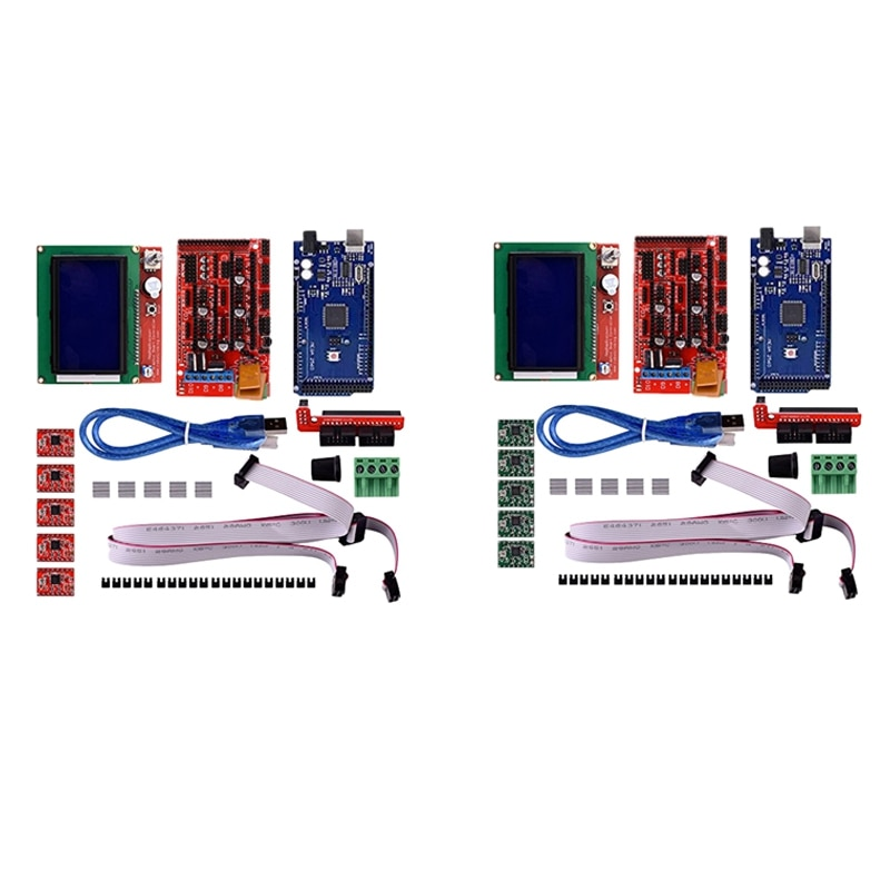 Ramps1.4 لوحة تحكم + 2560 R3 تحسين اللوحة + 12864 Lcd لوحة تحكم + سائق A4988 مع بالوعة الحرارة
